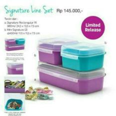 Spesifikasi Tupperware Signature Line Set Cocok Untuk Bingkisan Kado Tempat Kue Roti Donat Merk Multi