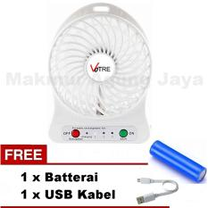 VOTRE Kipas Angin Portable Mini Fan White / Putih / Warna Random - YFS 01 + Free Batterai + Free USB Kabel