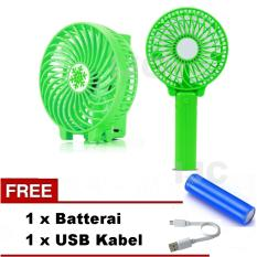 VOTRE Kipas Mini Lipat Portable Small Fan Rechargeable - Hijau / Green + Free Batterai +
