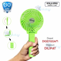 Votre One Handle Kipas Angin Mini Portable SF-02X Rechargeable Lipat Gagang Foldable & Portable with Baterry Charge - Hijau Neon