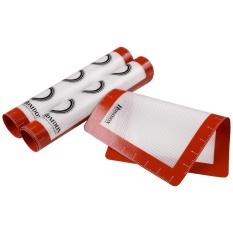 WONDERSHOP KEMEJA ATASAN Baru Dapur Memasak Peralatan 3 Pcs Silicone Baking Mat Set Non-stick Tahan Panas Liners untuk Cookie Sheets Merah (Tipe 1) -Intl