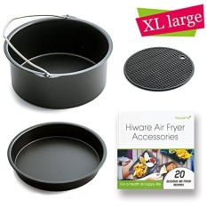 [XL-VERSION] Air Fryer Aksesoris XL-Cocok untuk Semua 5.3-5.8QT-Non-stick Barrel/Pan + Silicone Mat + Air Fryer Resep, Kompatibel dengan Power Air Fryer XL/Philips Avance XL HD9240/GoWISE USA XL-Intl