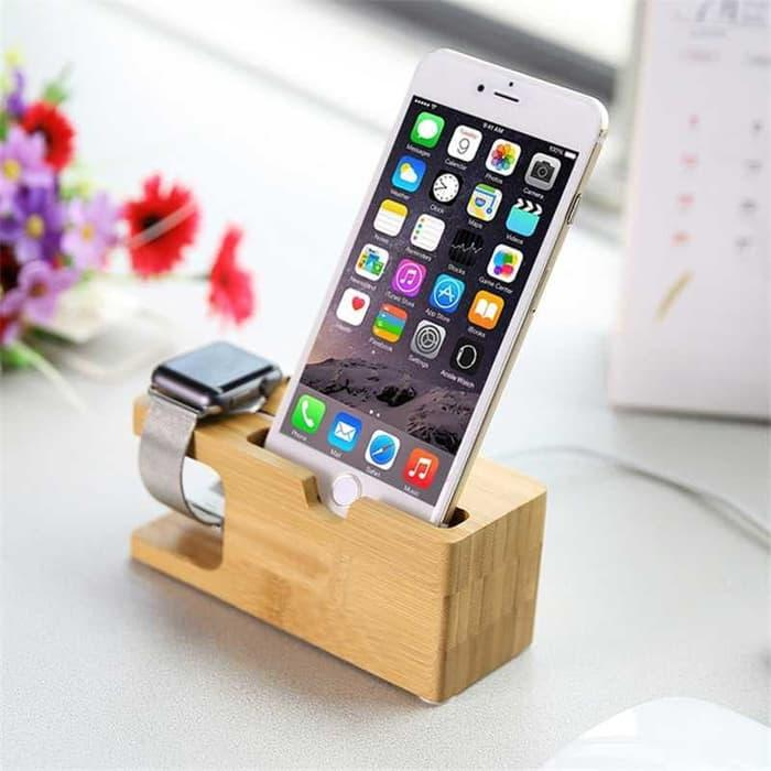 Bamboo Smartphone Stand Holder amp Apple Watch Dock