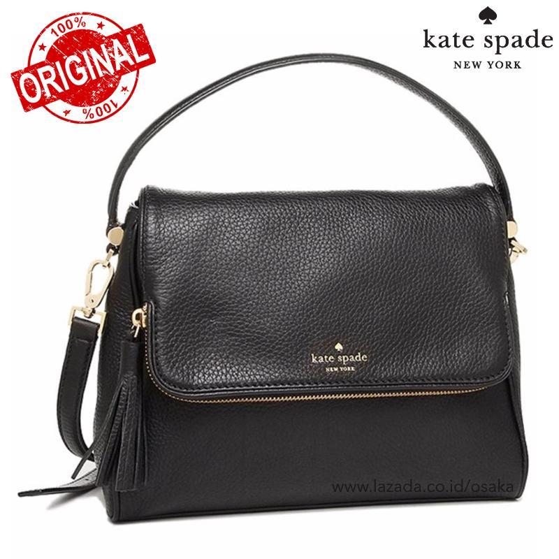 ORIGINAL  Kate Spade Miri Chester Street Black Leather Satchel Tas  Selempang Tote Bag Wanita 6086bf9516