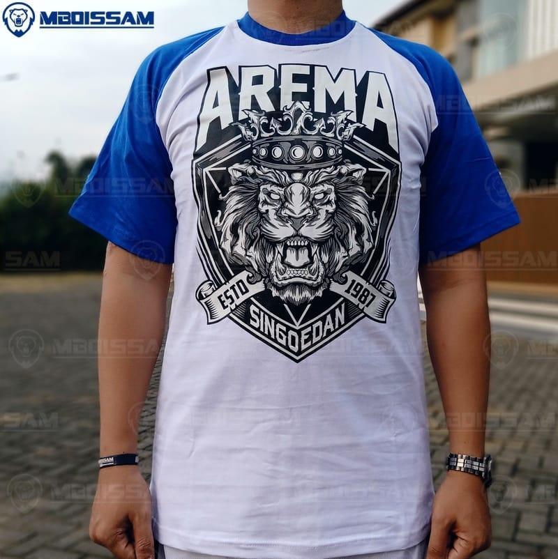 baju kaos AREMA FC KC60 raglan biru putih bagus murah asli malang