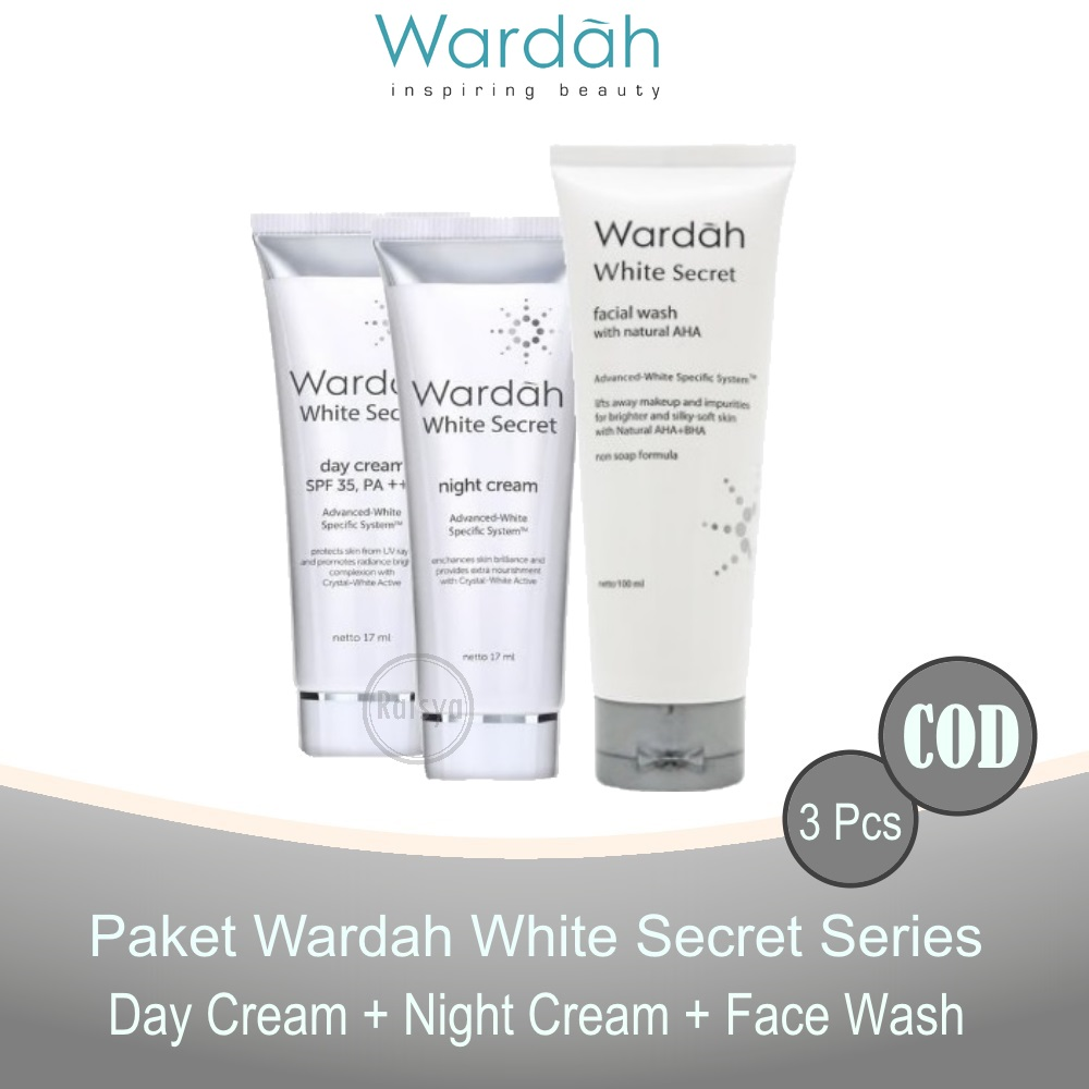 Paket WARDAH White Secret ( Day Cream 17ml + Night Cream 17ml + Facial Wash 100ml ) - 3 Pcs