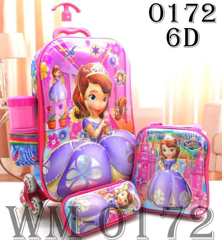 BGC Sophia Frozen Friends Koper Set Troley T + Lunch Box + Kotak Pensil 3D Timbul