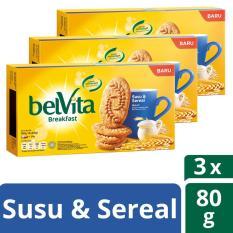 Belvita Breakfast Biskuit, Milk & Cereal, 3 pak, 80g Masing-masing