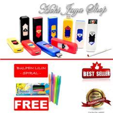 Hoki Cod - Korek Elektrik - Korek Api Lighter Usb Anti Angin - Multi Color - 1 Pcs + Gratis Pulpen Lilin Unik Serba Guna Hitam Pekat - 1 Pcs By Hoki Jaya Shop.