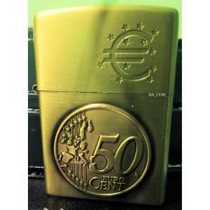 Korek Api Minyak Model Zippo Kantai Motif Coin Euro - Gold