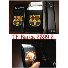Kotak Tempat Rokok Plus Korek Api Motif Club Bola Barcelona - Hitam