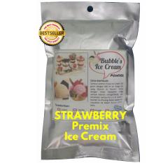 Strawberry Premix Ice Cream 250gr BUBBLE'S Bulky Instant Powder, Bahan Bubuk Es Krim Frizco