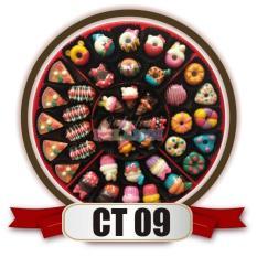 cokelat pelangi permen coklat aneka karakter (pizza, hotdog, donat disney, cupcake disney, eskrim disney) candytray kode CT09