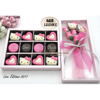 Bandingkan Toko Trulychoco paket chocogift dan bouquet -LOVE YOU SO MUCH- Tutup mika pink