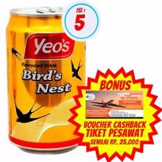 Yeo's - Minuman Rasa Sarang Burung 300ml  Isi 5 + Bonus Voucher Cashback Tiket Pesawat Senilai Rp. 25.000,-