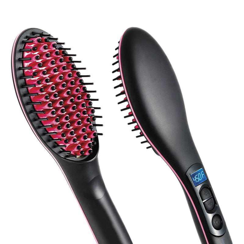 Portable Size Handheld Hair Straight Electric Brush Professional Lcd Display Fast Hair Straightener Comb Eu Plug