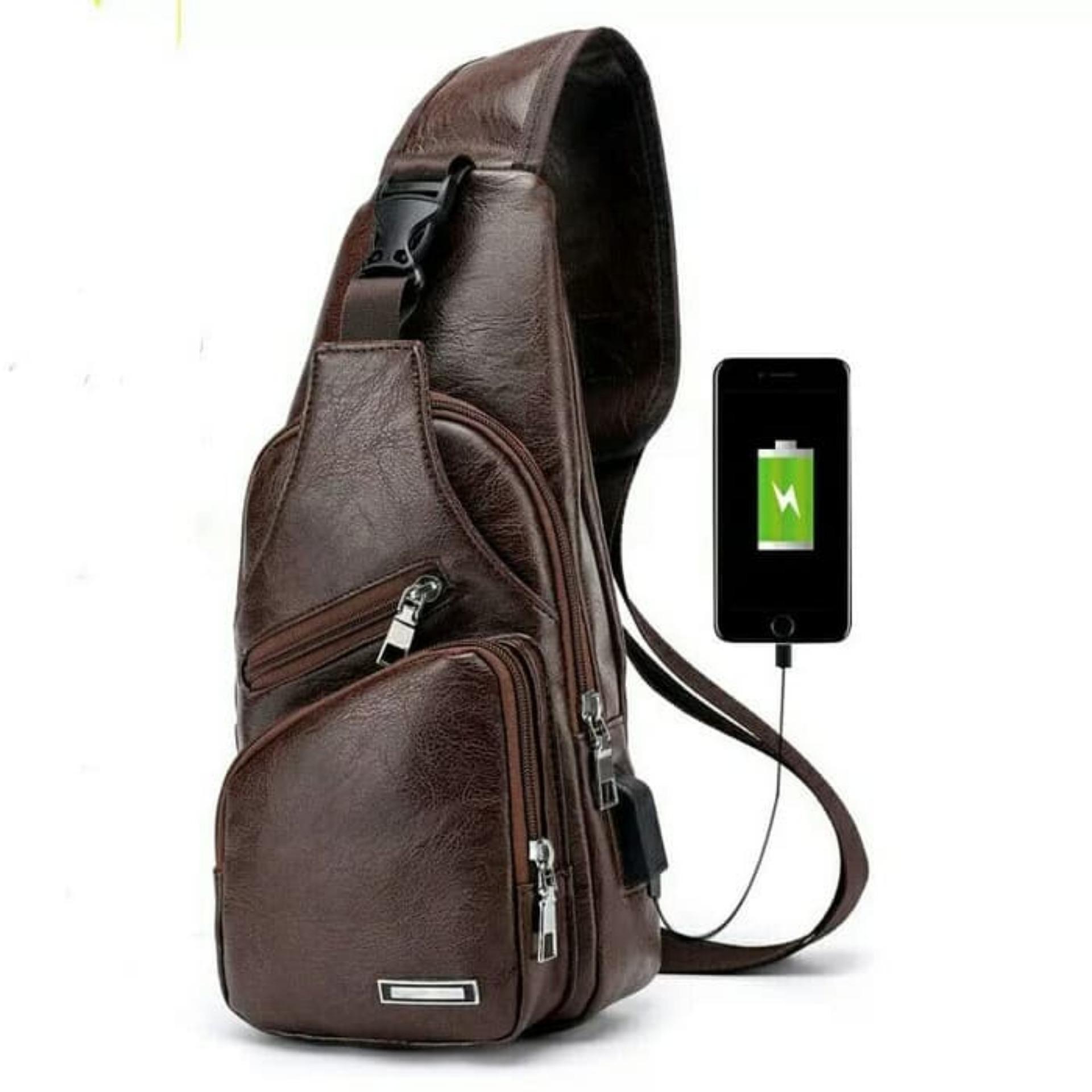 Tas Selempang NEW KULIT Pria Sling Bag Kulit USB Port 3bfd99c01e