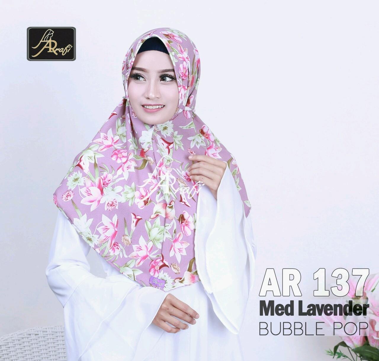 Hijab Arrafi AR 137 Med Lavender Jilbab Instan Ar Rafi Motif Kerudung Bergo Khimar Tali