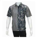Harga Batik Solo Bo6006 Kemeja Batik Pria Hitam Putih