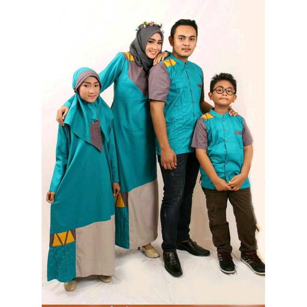 Baju Gamis Samara Couple Pasangan  Seragam Keluarga Family Muslim  Terbaru Modern / D (Gamis 10-11)