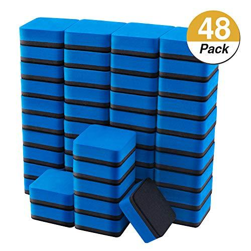 Favourde 48 Pack Magnetic Whiteboard Dry Eraser Chalkboard Cleansers for Classroom, Home and Office (Blue, 1.97 x 1.97 Inch)