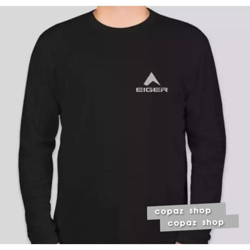 PROMO!!! COPAZ SHOP Kaos Distro Eiger Logo Premium Lengan Panjang Text Silver