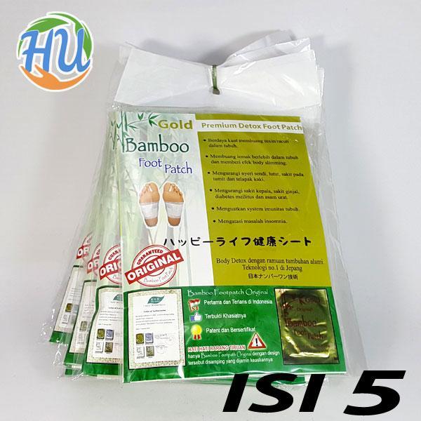 Pembuang Toksin Racun dalam Tubuh, Bamboo Gold Detox Foot Patch Isi 5, Menguatkan System Imunitas Tubuh Mengurangi Nyeri Sendi / Bamboo NBO , Mengatasi Masalah Insomnia Mengurangi sakit Kepal , Koyo kaki Bamboo Gold Mengurangi Sakit Ginjal