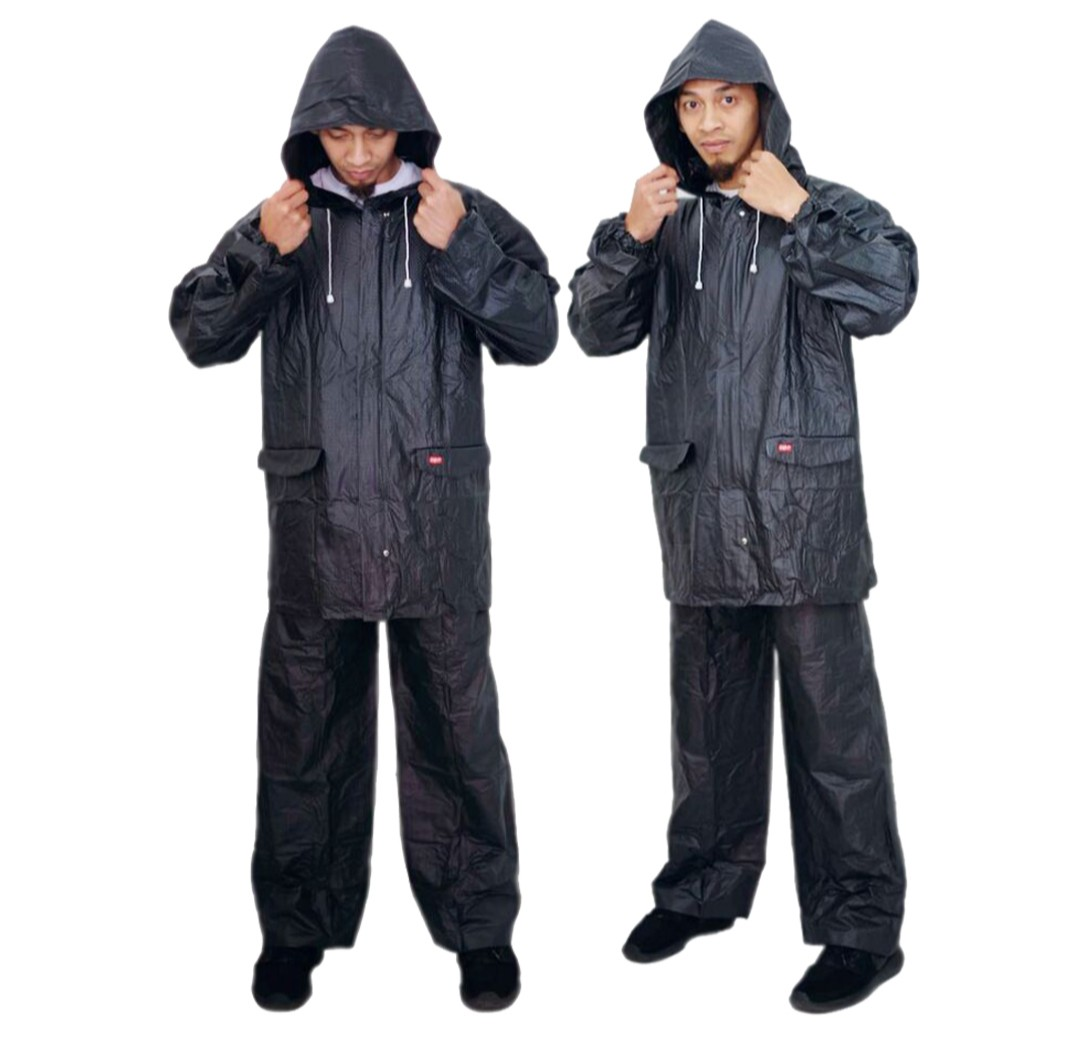 Mantel Jas Hujan Model Jaket Celana untuk Pria Wanita