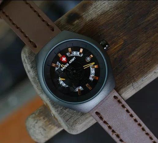 BISA BAYAR DI TEMPAT (COD) Jam Tangan Pria Swiss Army ,Tali KuliT (Leather Strap)jam tangan model baru, keren Limited edition (Hari & Tanggal Aktif)