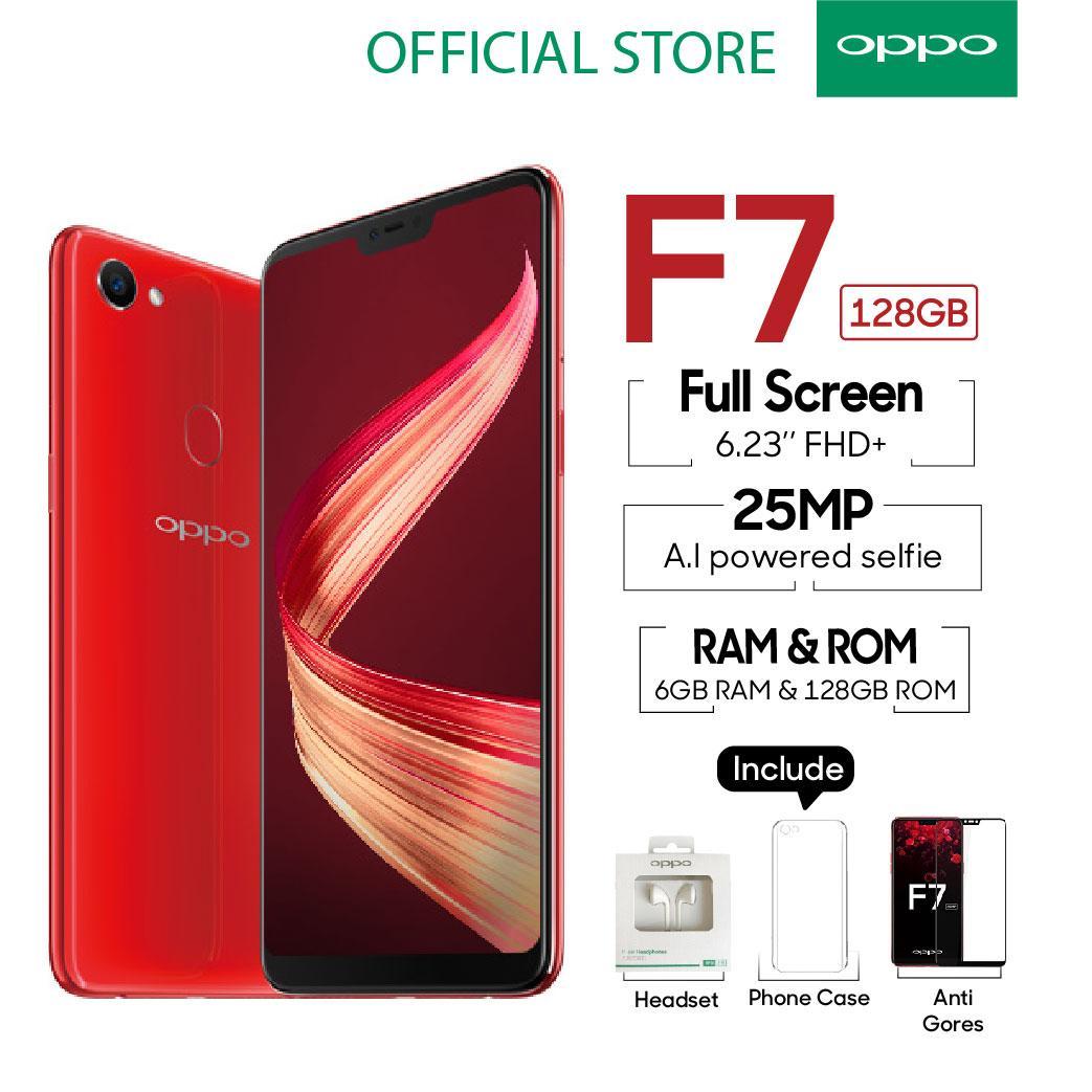 OPPO F7 SMARTPHONE 6GB/128GB Red , Face Unlock, Al-Powered Selfie 25 MP (COD, Garansi Resmi OPPO, Cicilan tanpa kartu kredit, Cicilan 0%, Gratis Ongkir)