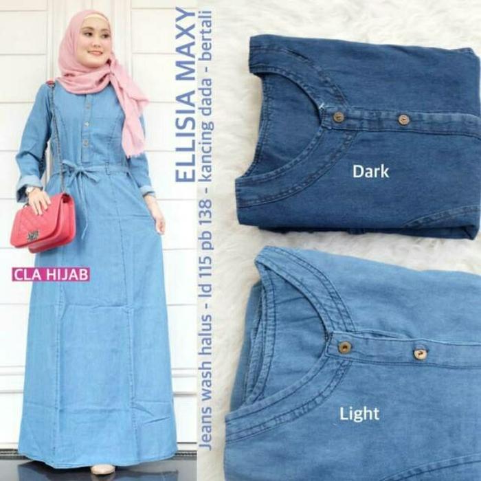 ELYSIA MAXI Bahan JEANS Gamis Muslim Pakaian Wanita Baju Muslim Modern Trendy Dress Muslimah Casual Baju Jumpsuit Modis Baju Lengan Panjang Baju Syar'i Muslim Wanita Baju Kerja Syari Panjang Dress Pengajian Murah Terbaru