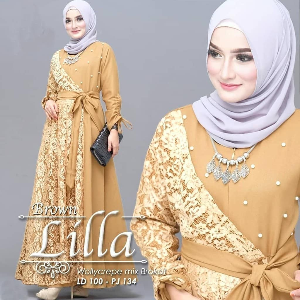 Lilla Dress Brokat Mixed Wollycrepe Gamis Brokat Model Terbaru / Gamis  Wanita / Dress Muslimah / Maxy Simple / Dress Panjang / Maxy Model Terbaru  /