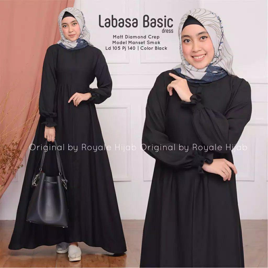 Gamis Polos Labasa Basic Dress Original Royale Hijab - Gamis Polos Wanita -  Gamis Putih Terbaru/Baju Gamis muslim wanita terbaru/Gamis murah bagus