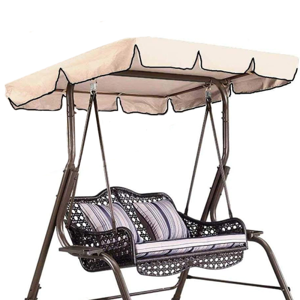 Swing Canopy Top Cover Replacement Canopy Garden Outdoor Porch Balance Cover (Beige 55X47X7 Inches)