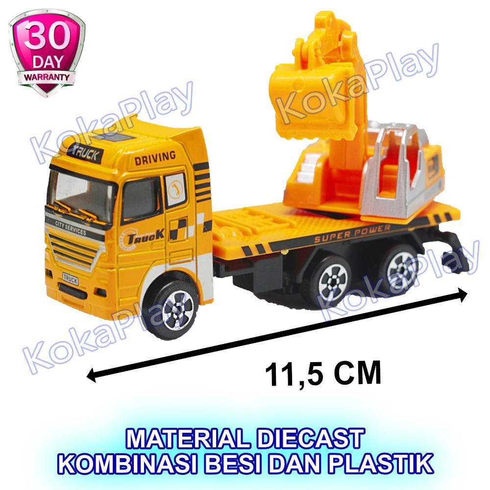 KokaPlay Shimura Diecast Truck Excavator Mainan Mobil Metal Konstruksi Truk Penggali Tanah Truk Molen Semen Besi Mainan Anak Laki Laki Mobil Mobilan