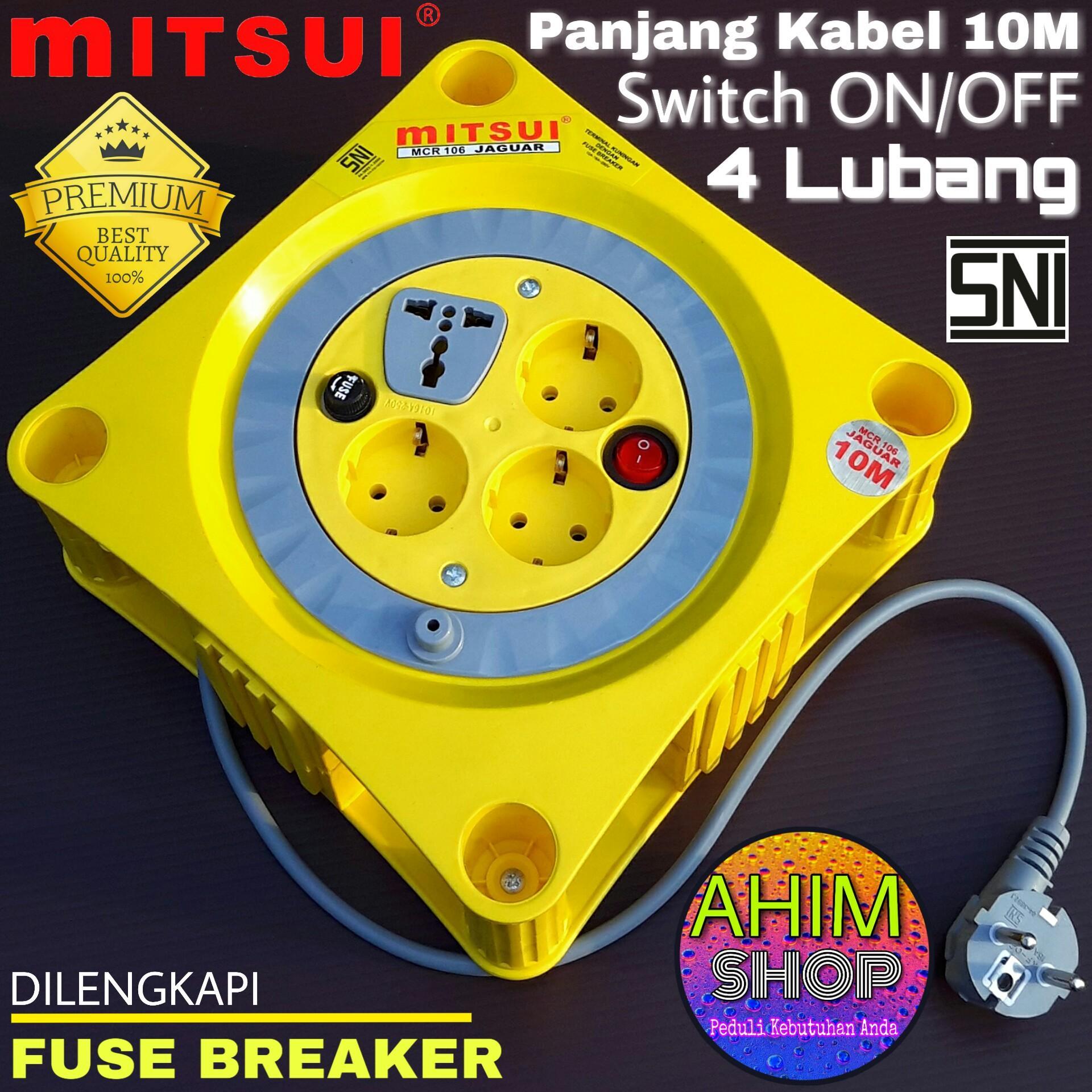 Mitsui Kabel Roll Stop Kontak Listrik 10M 4 Lubang + Saklar ON/OFF SNI Best Quality MCR 106 JAGUAR (Kuning)