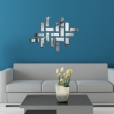Jual 18 Pieces Silver Mirror Sticker Square Bentuk Rumah Ruang Tamu Dinding Padat Poster Stiker Oem Grosir