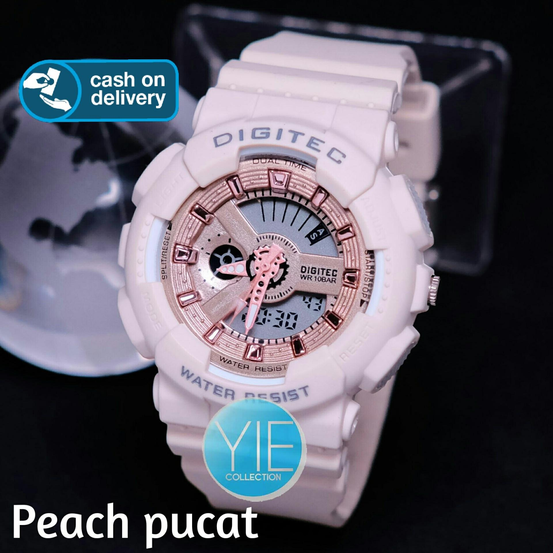 [COD] Digitec Jam Tangan Wanita DG 2063 Dual Time Strap Karet Original Anti Air