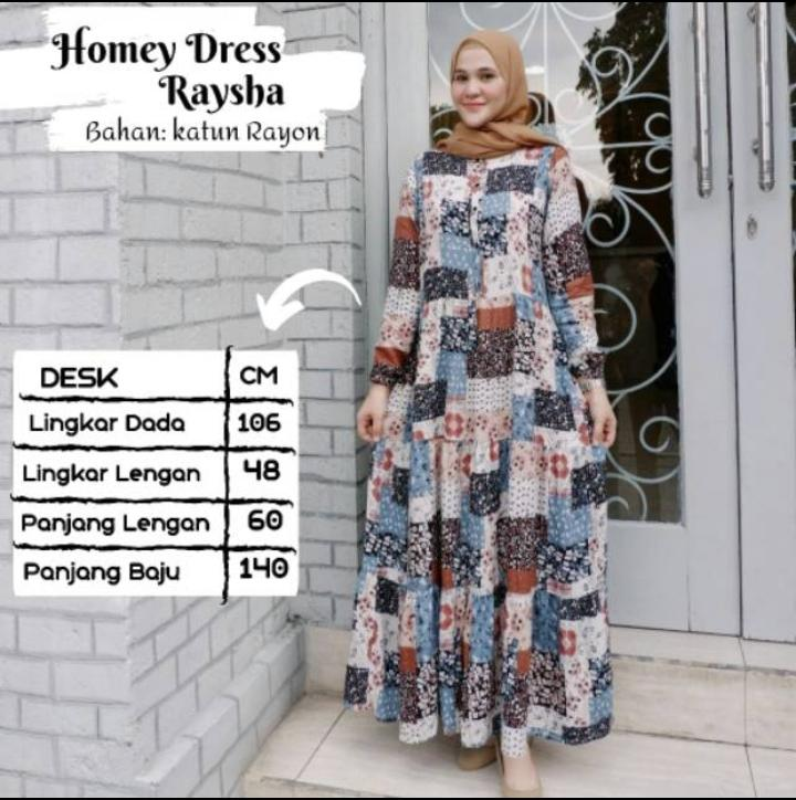 BEST SELLER!!! TERMURAH!! HOMEY DRESS RAYSA PREMIUM - GAMIS DEWASA KATUN RAYON