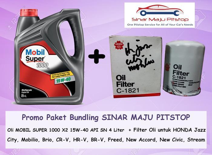 Paket Oli MOBIL SUPER 15W-40 & Filter Oli HONDA BRIO & MOBILIO & FREED