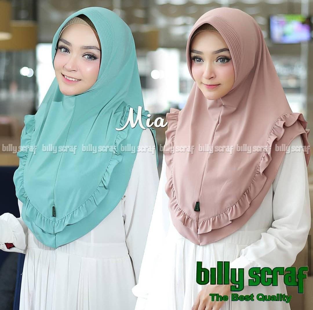 Hijab/Jilbab Instan jersey Billy Scraff Rempel Mia Model Bergo terbaru  termurah dan Terlaris / Kerudung Wanita / DnK Jaya
