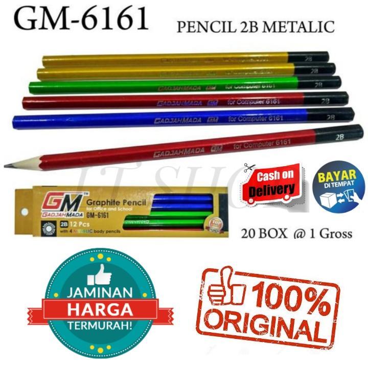 PROMO 12Pcs Pensil Pencil Pincil 2B metalik GM-6161
