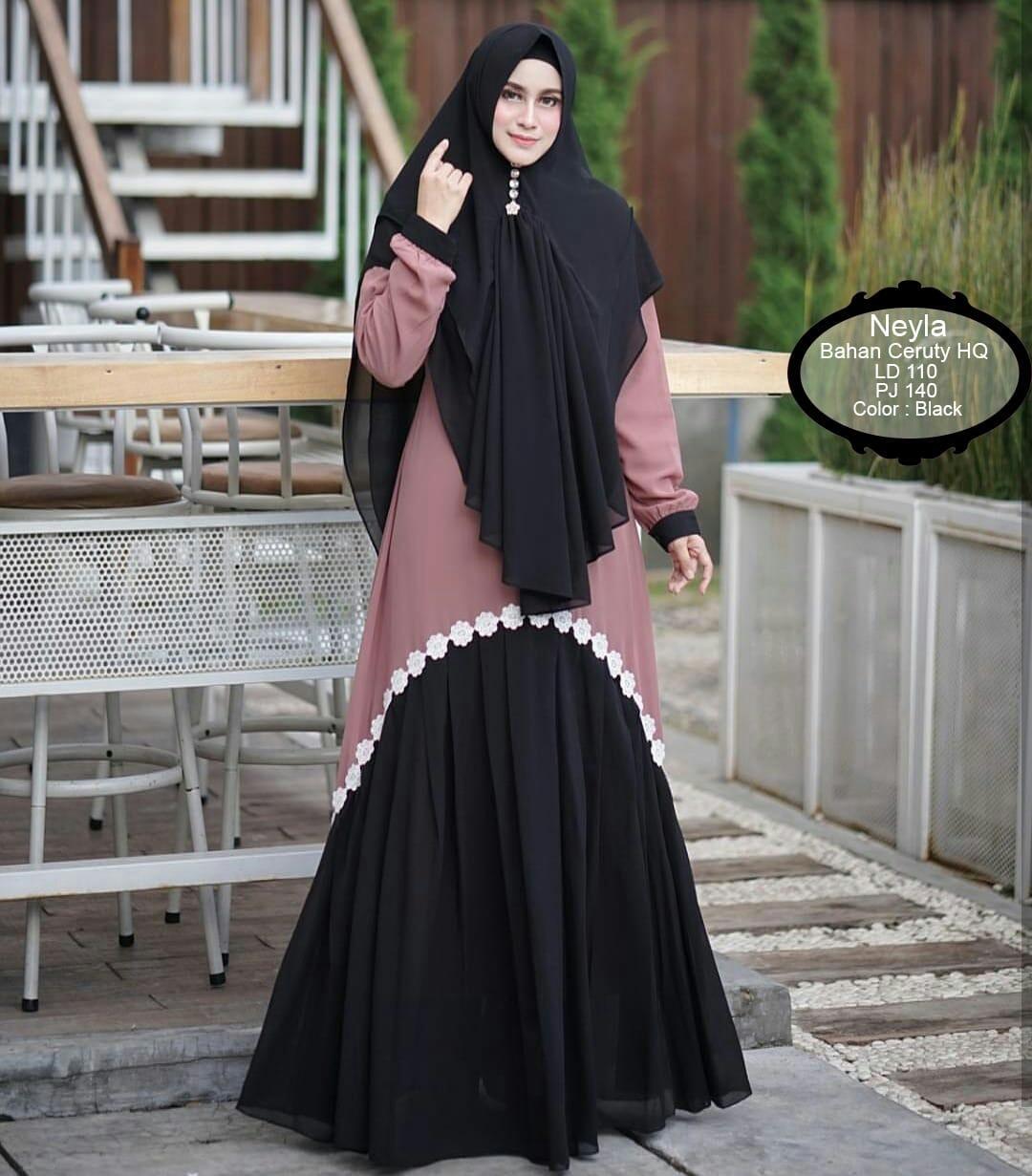 Flowren Gamis Syari Muslim Trend Terbaru 2019 Set Khimar Set Syari Polos Stelan Muslim Wanita Syari