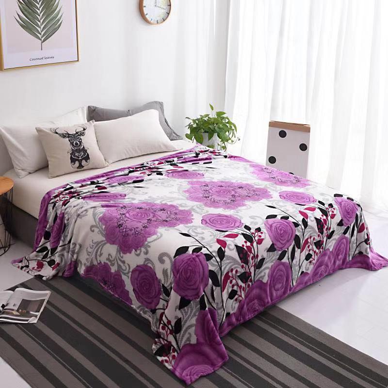 selimut Bulu Halus Motif Kembang ungu Cantik 150x200 impot murah berkualitas