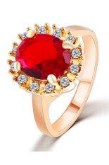 Beli 18 K Emas Plated Cz Berlian Austria Crystal Zircon Cincin Merah Baru