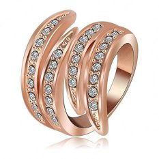 18 K Emas Berlapis Fashion Wanita Cincin Malaikat Sayap Cubic Zirconic Cincin Pernikahan Rose Gold