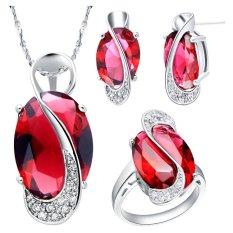 18 K Berlapis Emas Putih Wanita Perhiasan Set Blackhorse Amethyst Red Ruby Crystal Anting Kalung Cincin Set