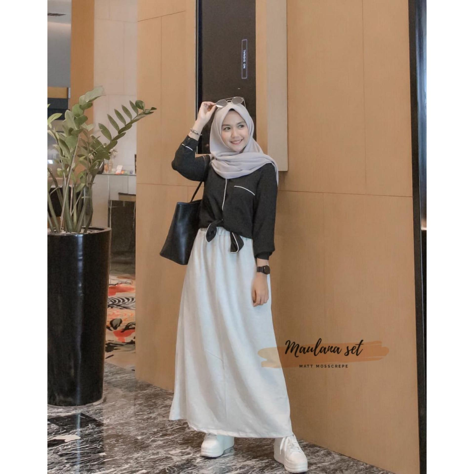 Baju Muslim Modern Setelan Maulana Set Mosscrepe Baju Atasan Casual Baju +  Rok Modern Wanita Setelan c8bfcc3777
