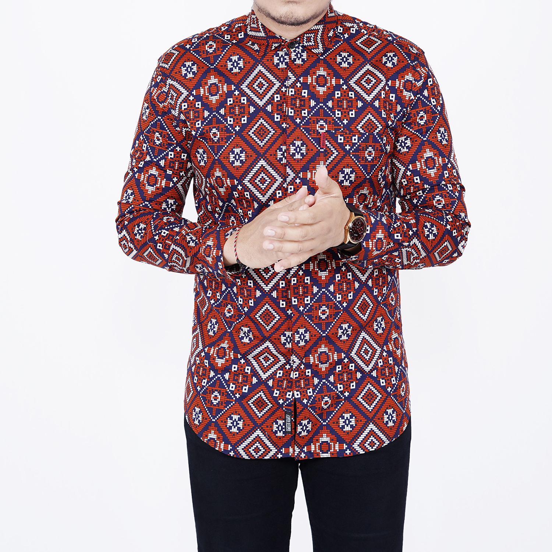 Zoeystore1 6532 Kemeja Batik Pria Lengan Panjang Exclusive Kemeja Batik Cowok Kerja Kantor Kemeja Batik Formal