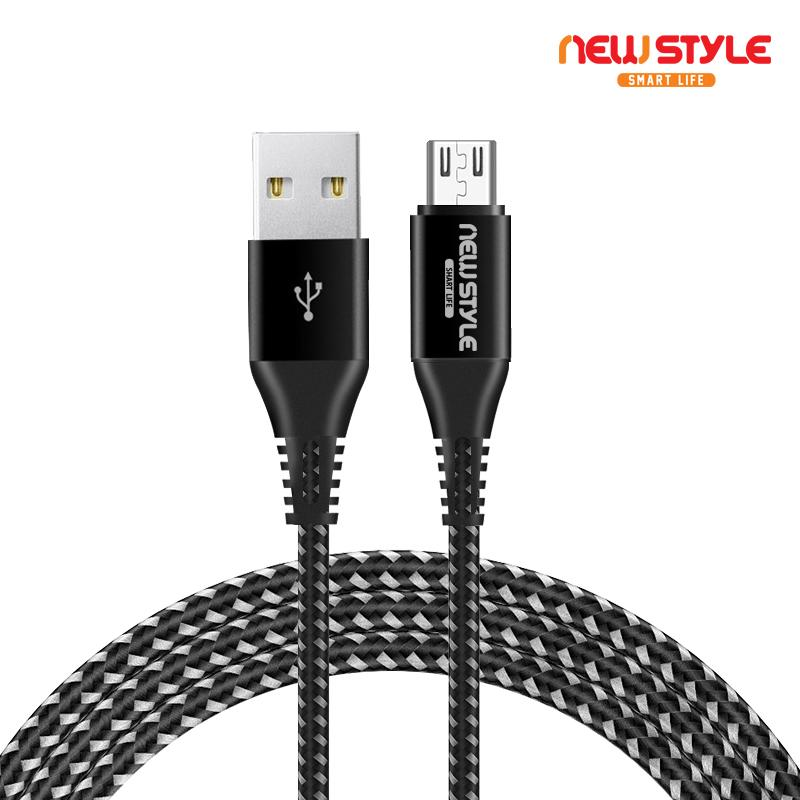 New Style - NS01 kabel data/cable data Micro USB untuk Android Samsung Xiaomi Redmi OPPO 100 cm Hitam